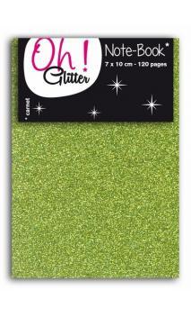 Carnet glitter 7x10cm vert