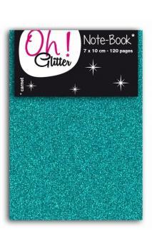 Carnet glitter 7x10cm turquoise