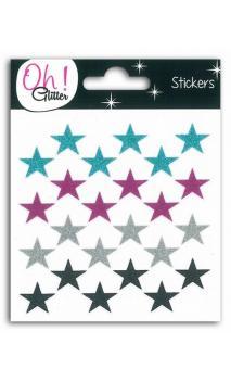 24 estrellas glit. Azul/fuch/arg/Negro
