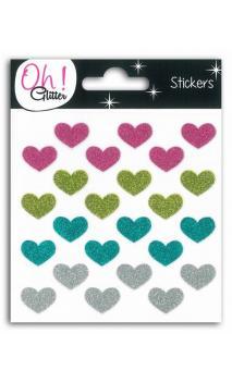 24 corazones glit. Rosa/Verde/turquesa/palta