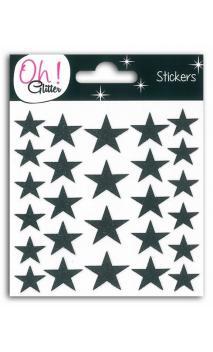 26 estrellas glitter Negro