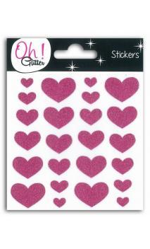 24 corazones glitter Rosa