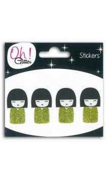 4 kokeshi glitter Negro/Verde