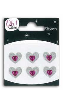 6 cœurs glitter/Strass PM plata