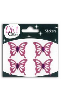 4 papillons glitter/Strass GM Rosa