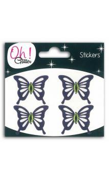 4 papillons glitter/Strass GM violeta