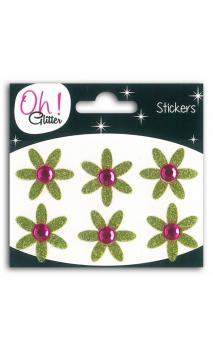 6 fleurs glitter/Strass GM Verde