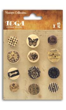 Surido 12 botones impresos vintage