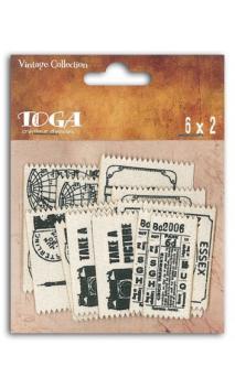 6 etiquetas tela vintage viaje
