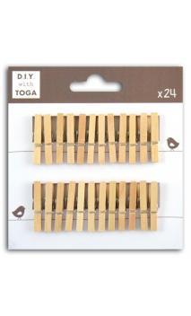 Surtido de 24 pinzas para ropa madera natural
