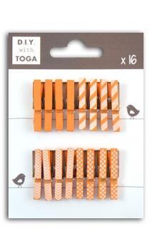 Surtido de 16 pinzas para ropa madera Naranja
