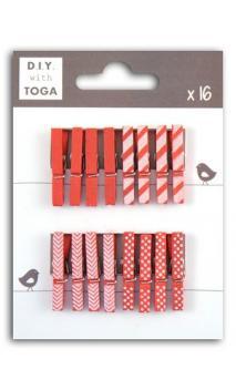 Surtido de 16 pinzas para ropa madera Rojo