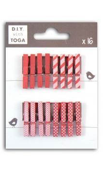 Surtido de 16 pinzas para ropa madera Fucsia