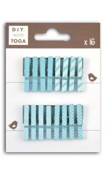 Surtido de 16 pinzas para ropa madera Azul marino