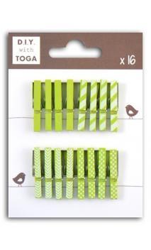 Surtido de 16 pinzas para ropa madera Verde