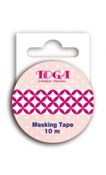 Masking tape con motivo fucsia/blanco- 10 m