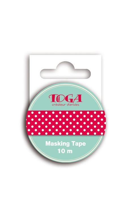 Masking Tape rojo topos blanco - 10m