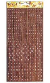 1 hoja pegatinas alfabeto Imitación madera