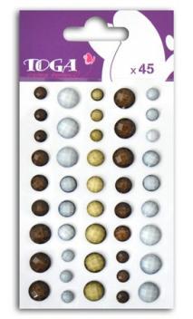 Set perlas à facettes beige/marron