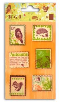Surtido 6 sellos de madera impresos Hojasy castañas
