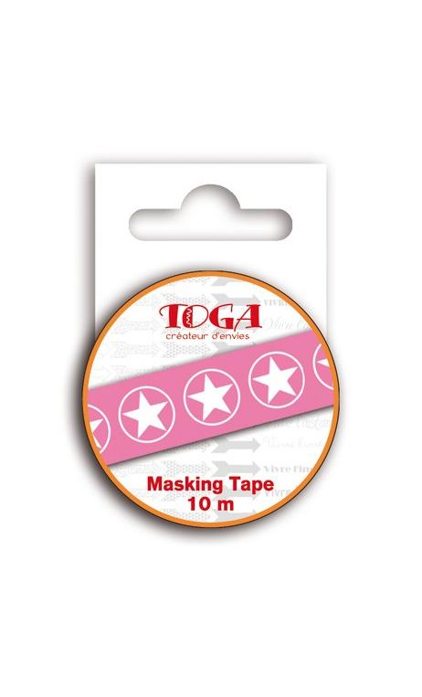 Masking tape 10m - Estrellas rosa & Blanco