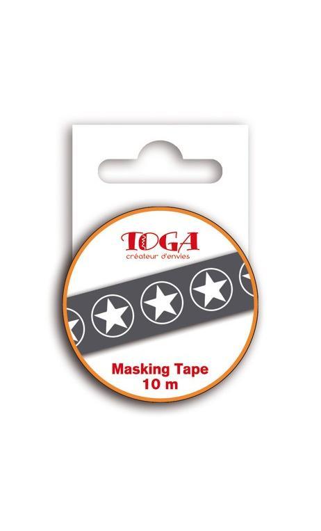 Masking tape 10m - Estrellas negro & Blanco