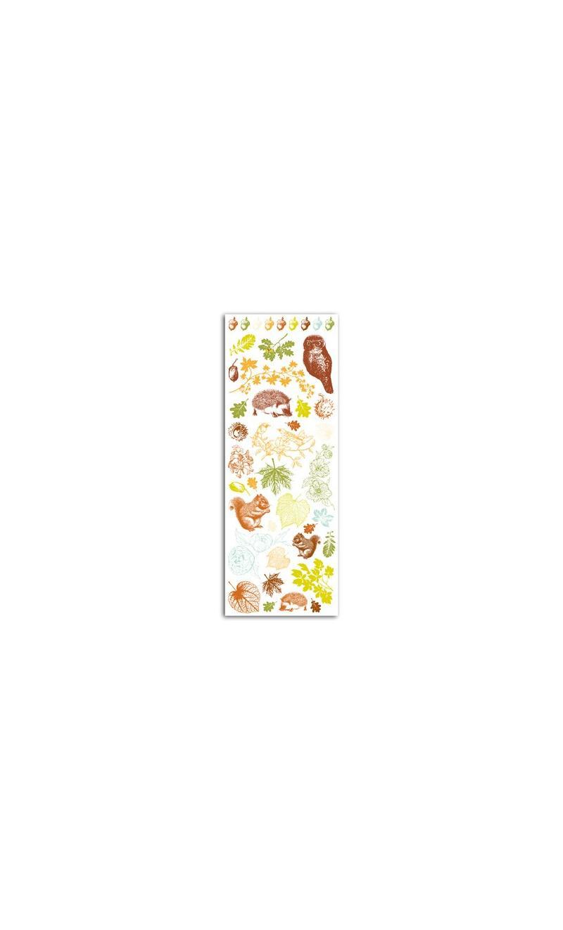 Transferibles Color Hojas y castañas - 1 hoja 7,5x20 - BASICCREA