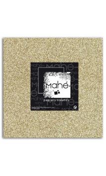 Mahé 30x30 - Glitter papel adhesivo Oro 1 hoja - Pack 5 h.