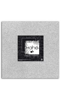Mahé 30x30 - Glitter papel adhesivo Plata 1 hoja - Pack 10 h.
