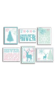 Surtido de 6 timbres madera impresa Invierno