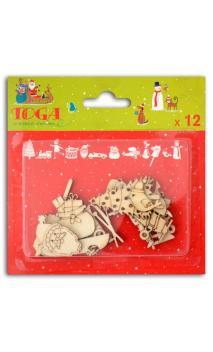 Conjunto de 12 formas en madera Navidad en el pais de los juguetes