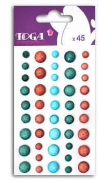 Set perles à facettes azul/rosa