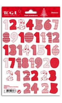 1 hoja Stickers Cifras 1 à 25 Navidad Escandinava