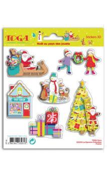 1 hoja Stickers 3D Navidad en el pais de los juguetes 15x15