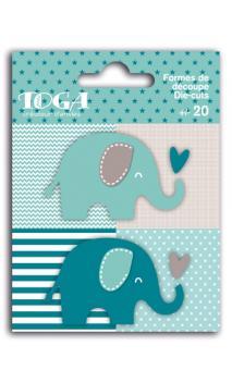 Surtido de 20 formas troqueladas elefantes azul marrón oscuro