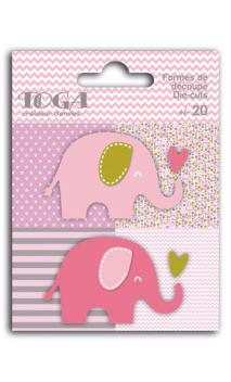 Surtido de 20 formas troqueladas elefantes rosa verde marrón oscuro