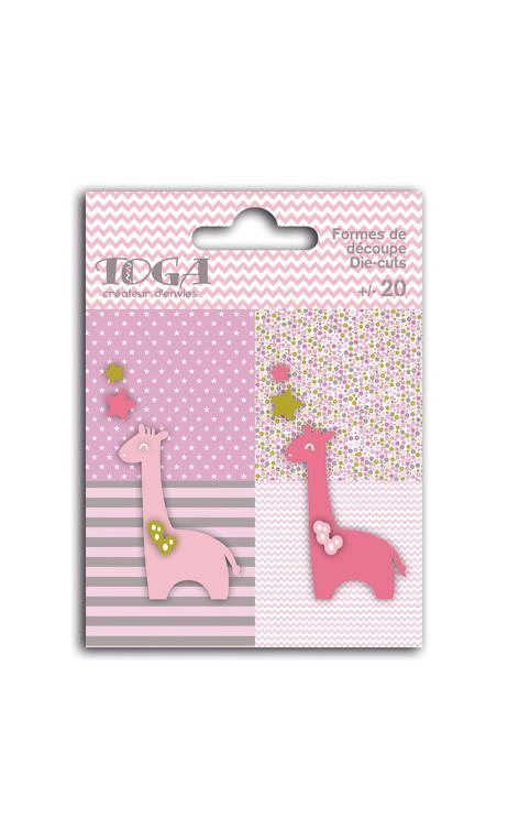 Surtido de 20 formas troqueladas girafas rosa verde marrón oscuro