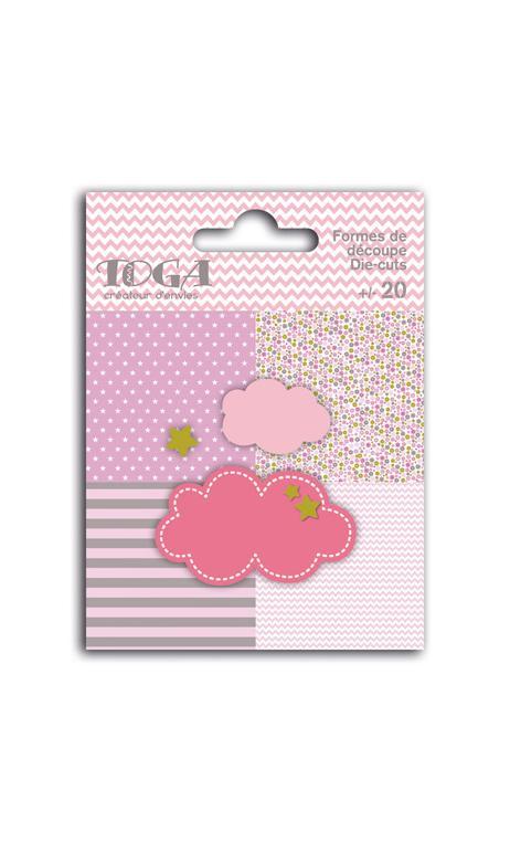 Surtido de 20 formas troqueladas nubes rosa verde gris