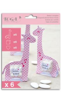 Conjunto de 6 pastilleros girafa niña