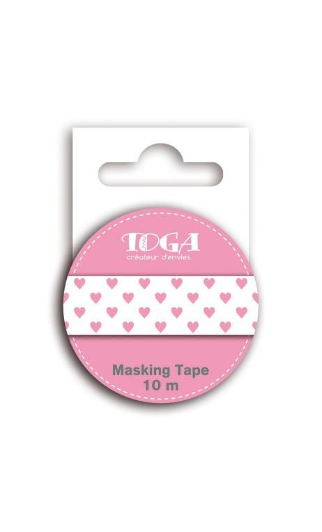 Masking tape corazones rosa - 10m