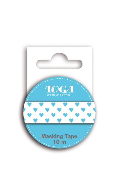 Masking tape corazones azul - 10m