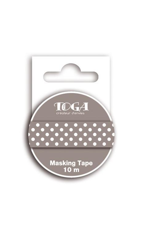 Masking tape topos marrón oscuro - 10m