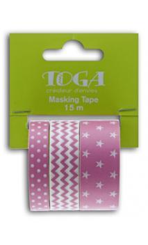 Masking tape x3 - geométrico fucsia - 5m