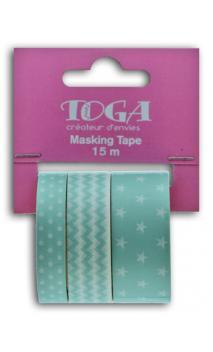 Masking tape x3 - geométrico menthe - 5m