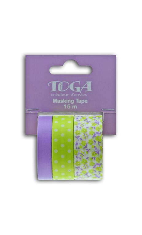 Masking tape x3 - flores/topos/violeta/anís - 5m