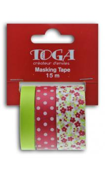 Masking tape x3 - flores/topos/frambuesa/anís - 5m