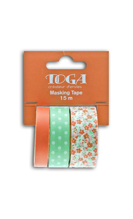 Masking tape x3 - flores/topos/coral/verde - 5m