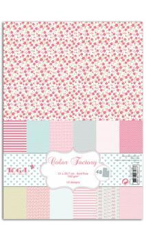 Color factory - A4 - 48 hojas rosa verde gris