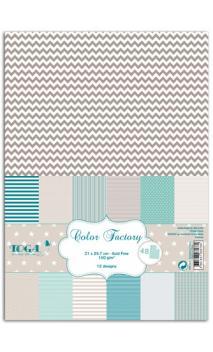 Color factory - A4 - 48 hojas azul beige marrón oscuro