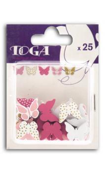 Surtido de 25 confettis Madera papillons rosa verde